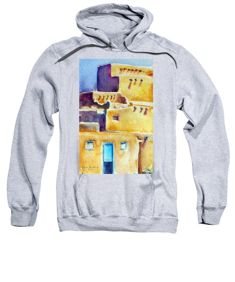 Taos Pueblo Sweatshirt featuring the painting Blue Doors Of The Taos Pueblo by Diane Binder