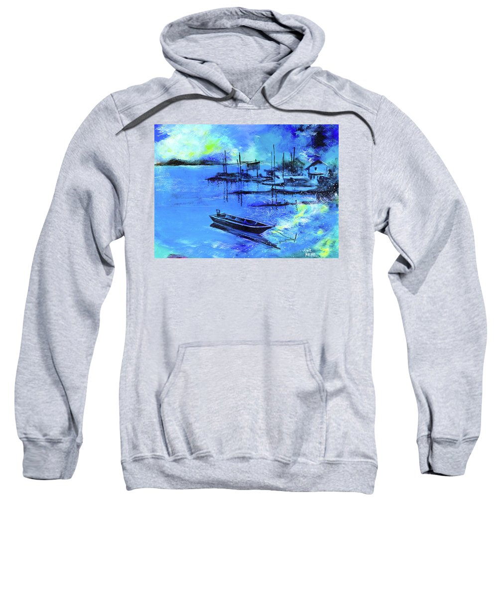 Nature Sweatshirt featuring the painting Blue Dream 2 by Anil Nene