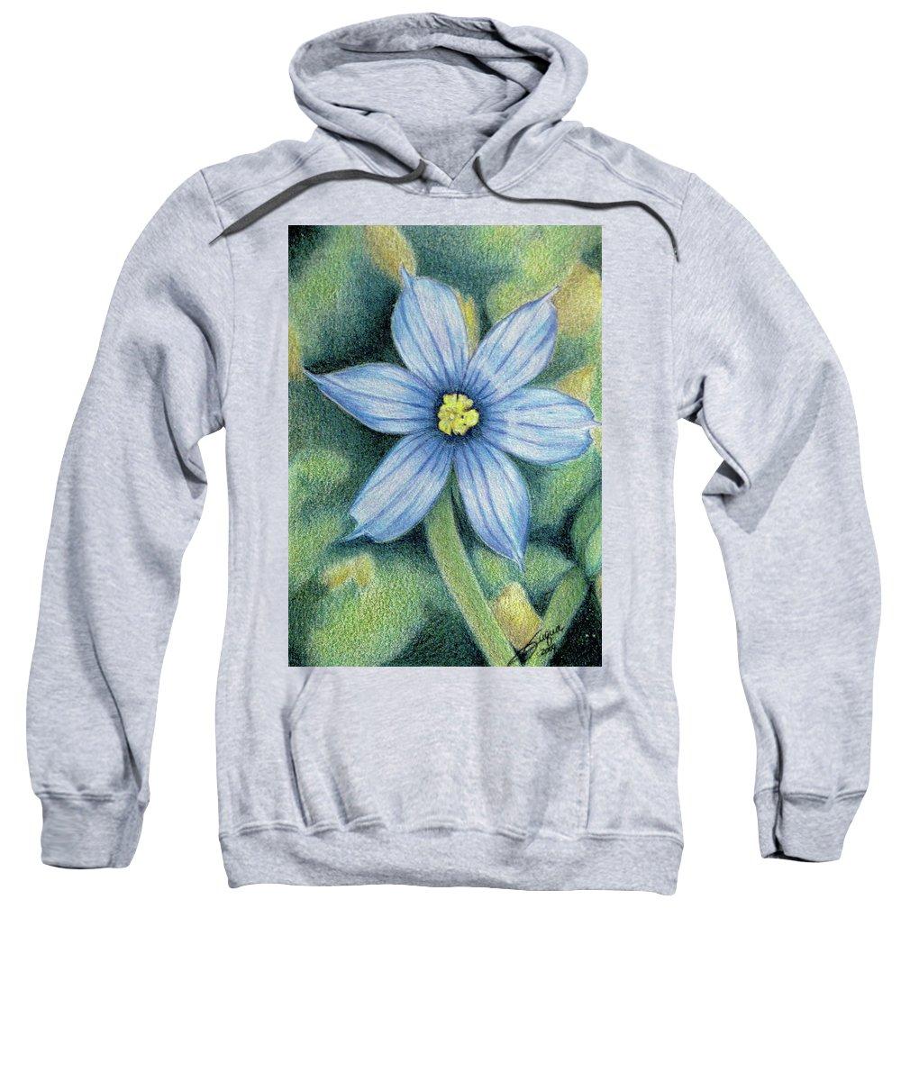 Fuqua - Artwork Sweatshirt featuring the drawing Blue Eyed Grass - 1 by Beverly Fuqua