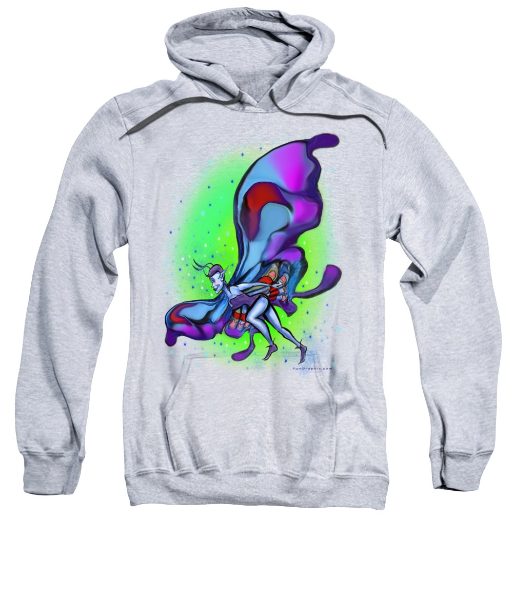 Blue Sweatshirt featuring the digital art Blue Faerie by Kevin Middleton