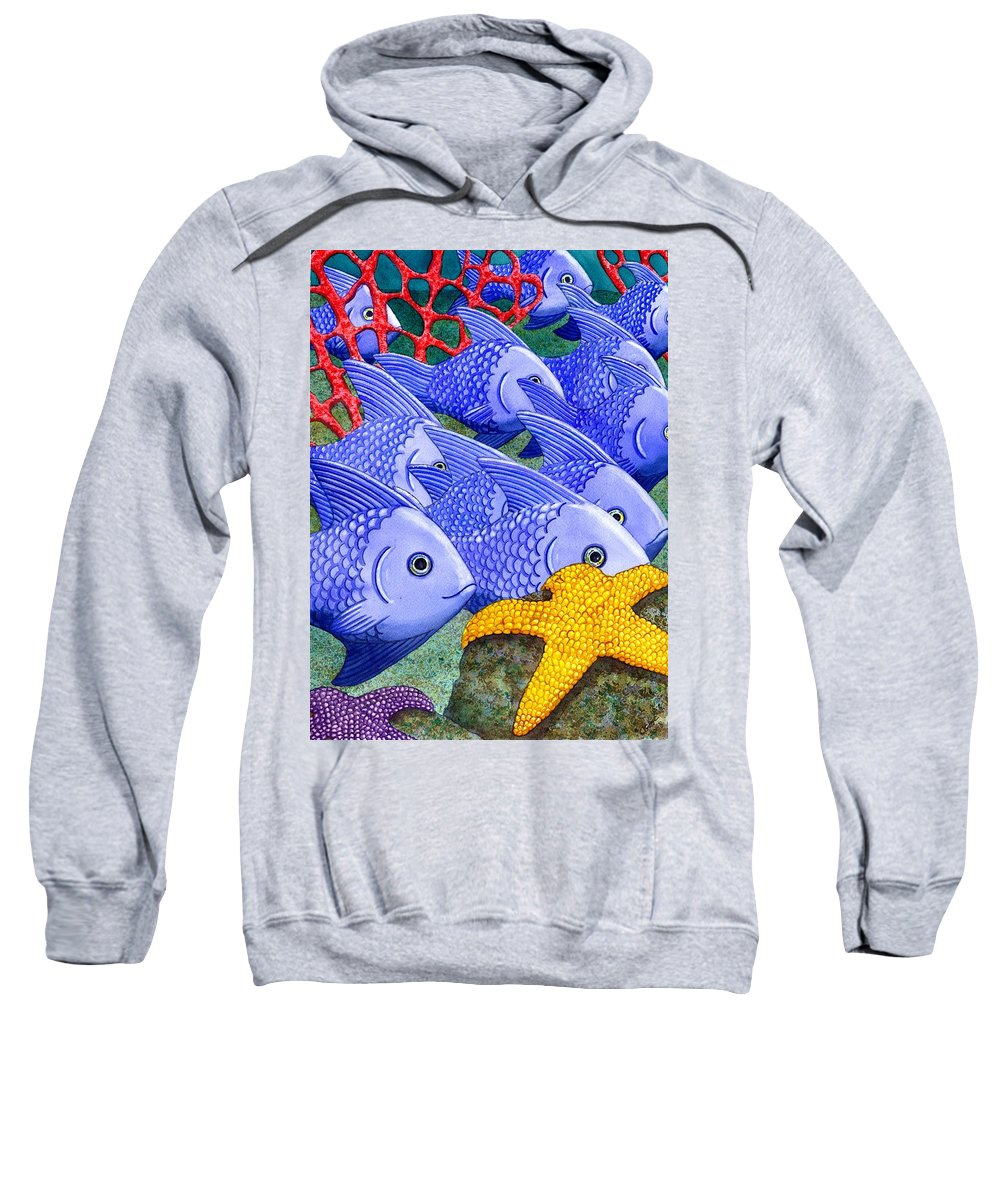 Fish Sweatshirt featuring the painting Blue Fish by Catherine G McElroy