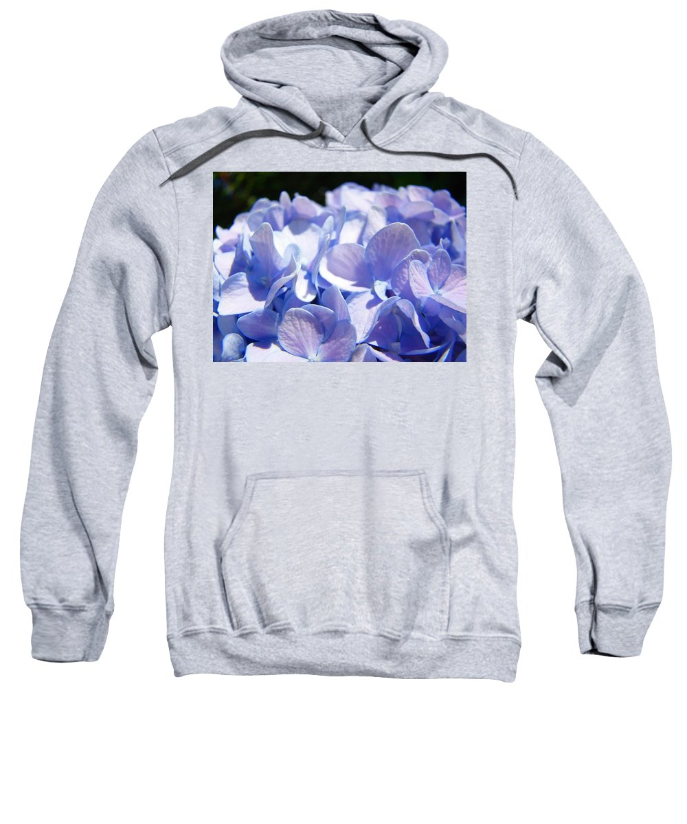 Hydrangea Sweatshirt featuring the photograph Blue Floral Art Prints Blue Hydrangea Flower Baslee Troutman by Baslee Troutman
