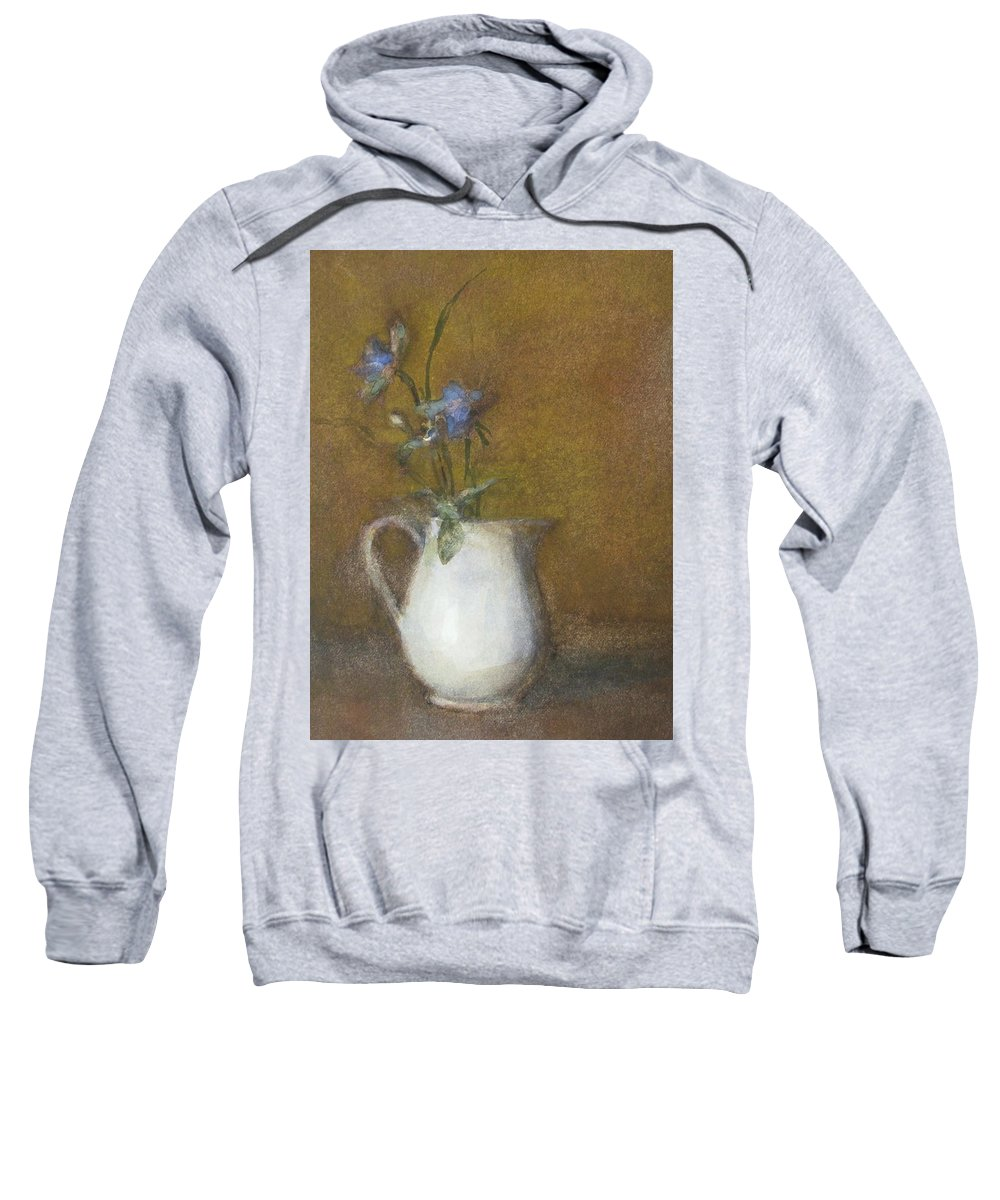 Floral Still Life Sweatshirt featuring the painting Blue Flower by Joan DaGradi