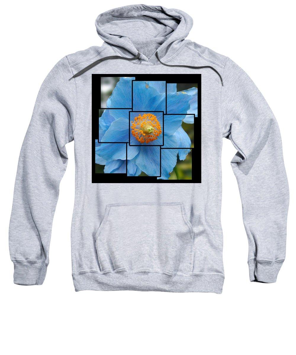Blue Sweatshirt featuring the sculpture Blue Flower Photo Sculpture Butchart Gardens Victoria Bc Canada by Michael Bessler