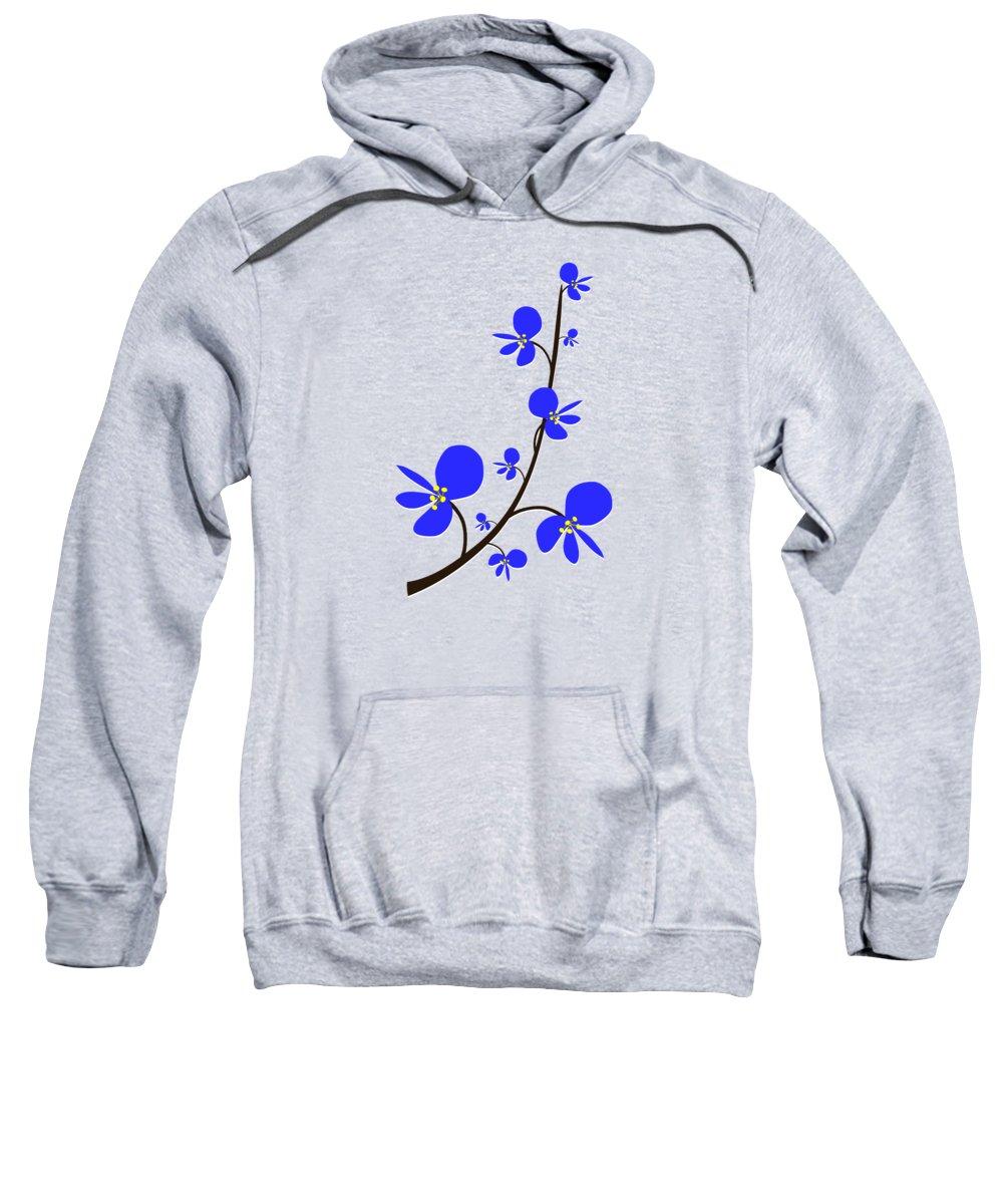 Nature Sweatshirt featuring the digital art Blue Flowers by Anastasiya Malakhova