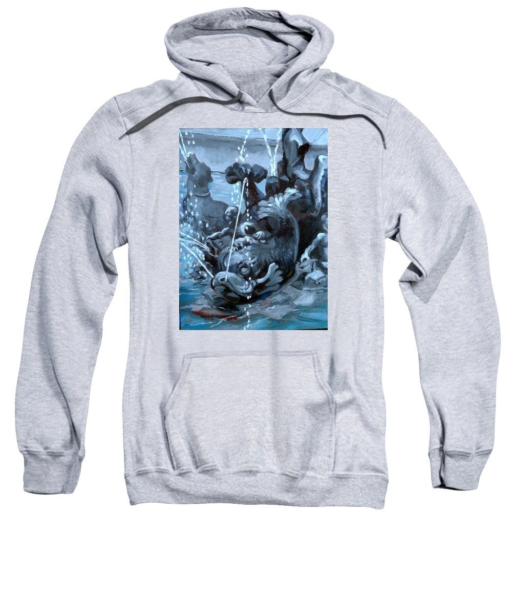 Fountain Sweatshirt featuring the painting Blue Grotto by Martha Tisdale