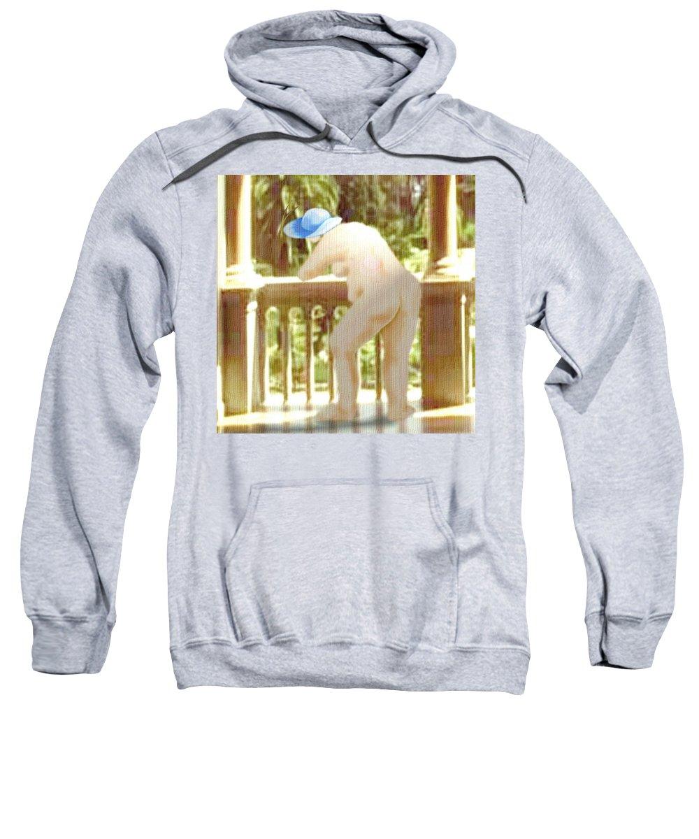 Woman Blue Hat Morning Nature Balcony Sweatshirt featuring the digital art Blue Hat by Veronica Jackson