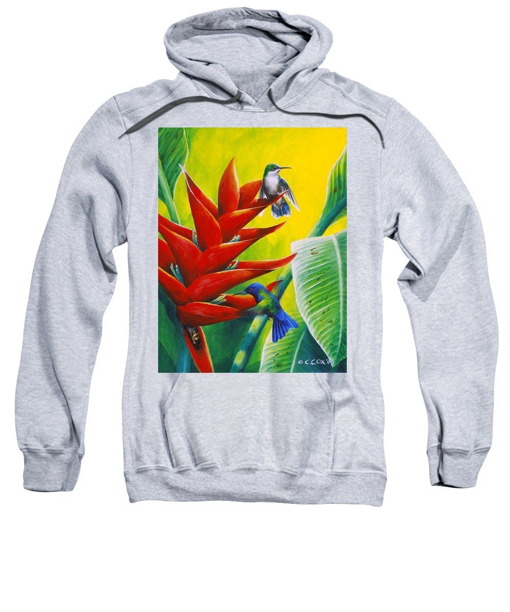 Chris Cox Sweatshirt featuring the painting Blue-headed Hummingbirds And Heliconia by Christopher Cox