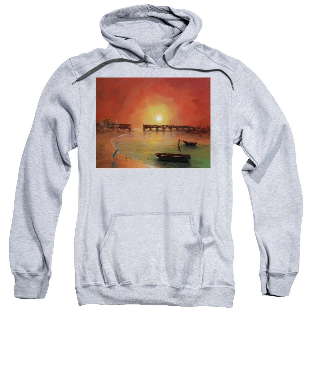 Keys Sweatshirt featuring the painting Blue Heron Bay by Ken Figurski