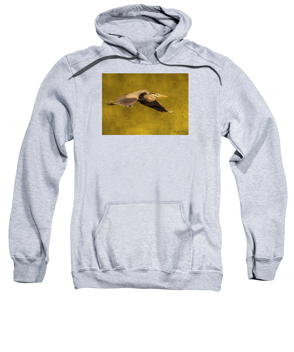 Blue Heron Sweatshirt featuring the photograph Blue Heron On Gold by CR Courson