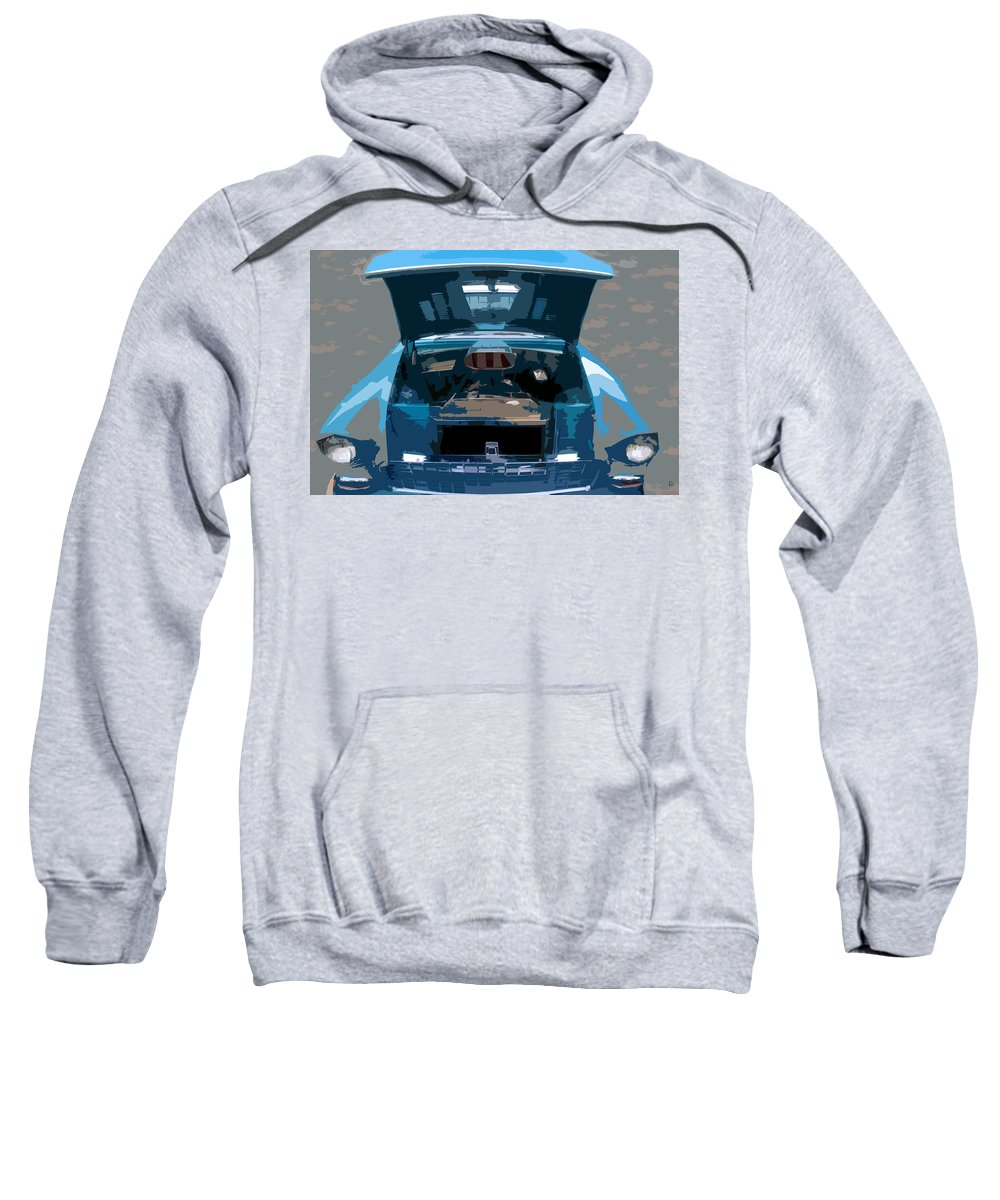 Hot Rod Sweatshirt featuring the painting Blue Hot Rod by David Lee Thompson