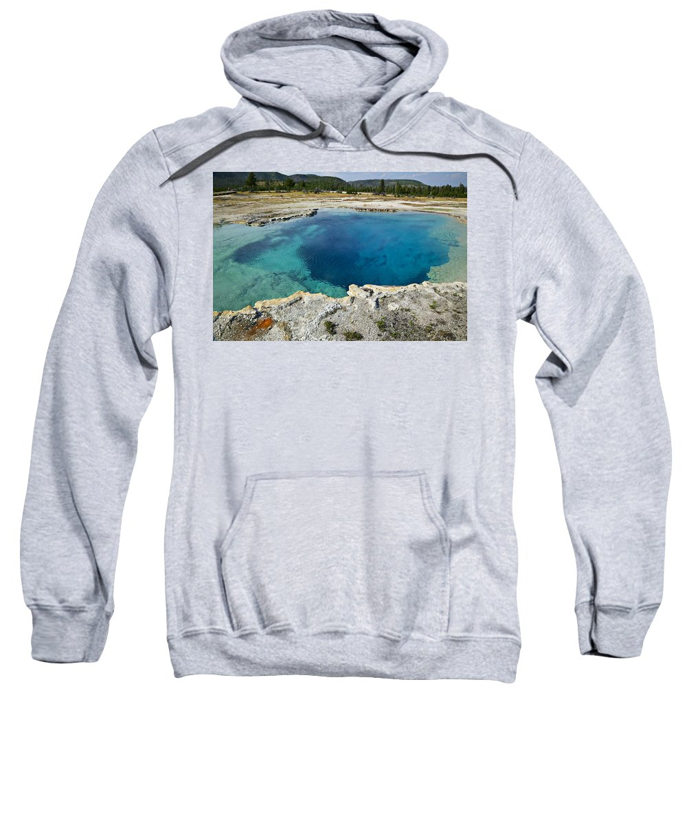 Hot Sweatshirt featuring the photograph Blue Hot Springs Yellowstone National Park by Garry Gay