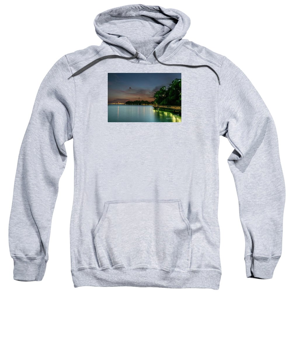 Caribbean Singapore Sweatshirt featuring the photograph Blue Hour Harbourfront Singapore by Janet Giles