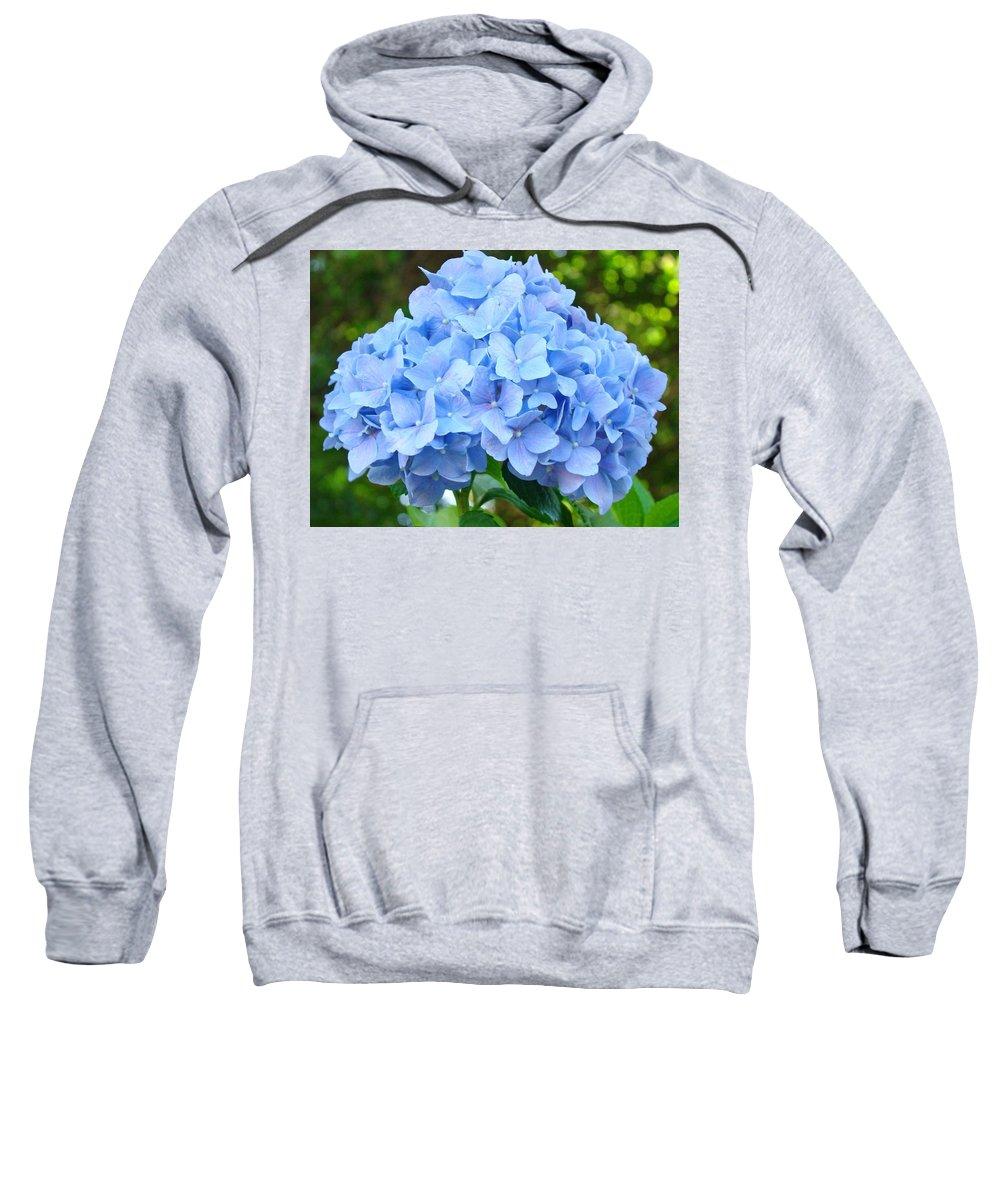 Blue Sweatshirt featuring the photograph Blue Hydrangea Floral Art Print Hydrangeas Flowers Baslee Troutman by Baslee Troutman
