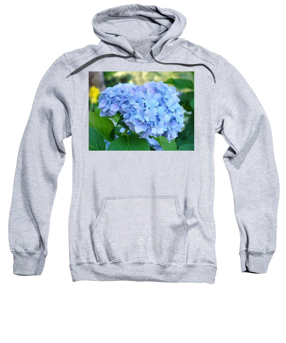 Hydrangea Sweatshirt featuring the photograph Blue Hydrangea Flowers Art Botanical Nature Garden Prints by Baslee Troutman