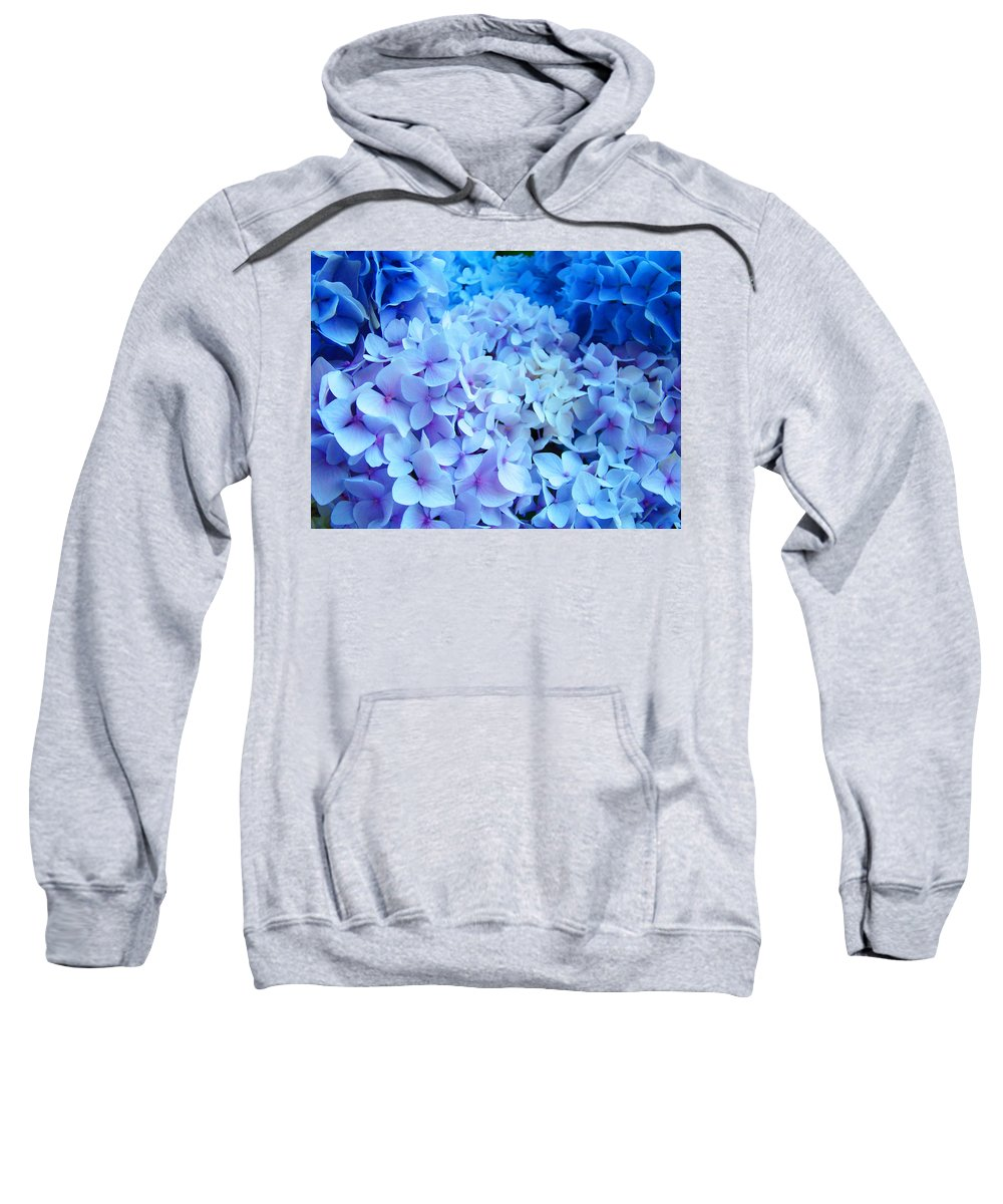 Nature Sweatshirt featuring the photograph Blue Hydrangea Flowers Art Print Baslee Troutman by Baslee Troutman