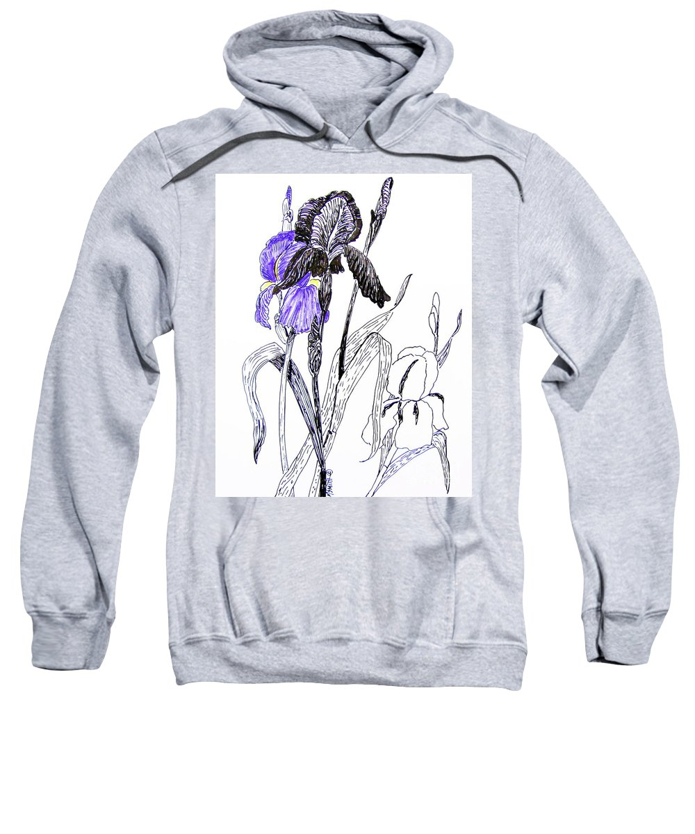 Iris Sweatshirt featuring the drawing Blue Iris by Marilyn Smith