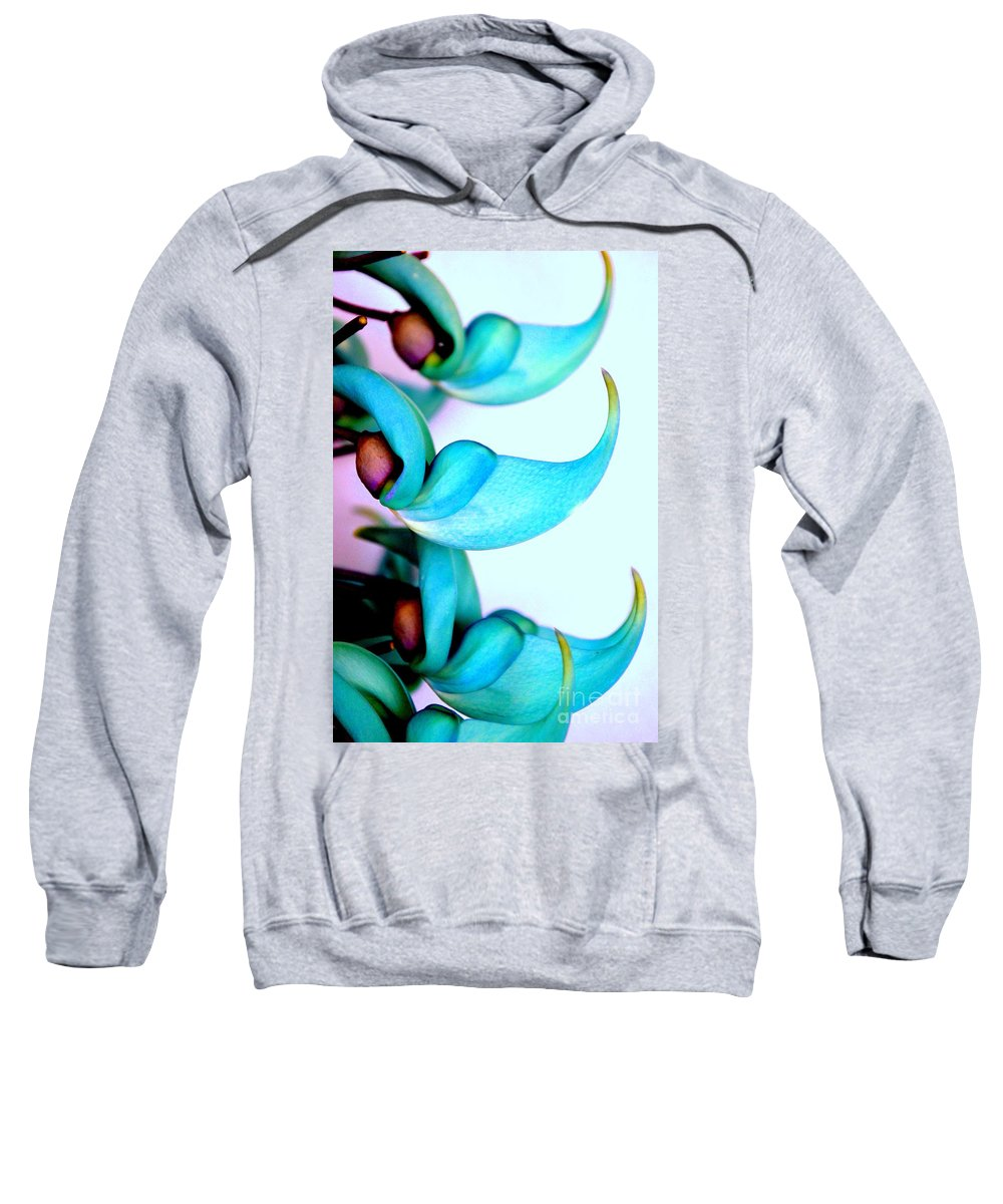 Jade Sweatshirt featuring the photograph Blue Jade Florets by Mary Deal