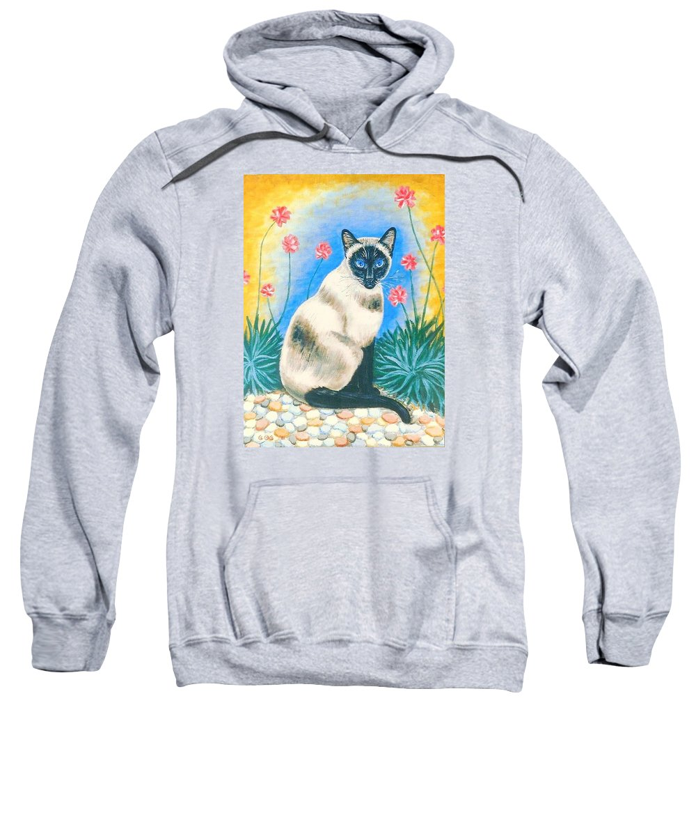 Cats Sweatshirt featuring the painting Blue Kitty by George I Perez