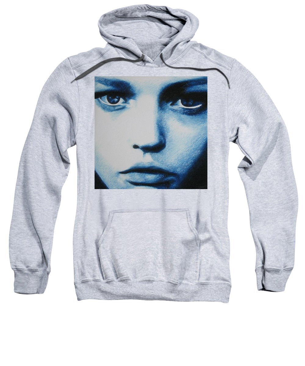 Girl Sweatshirt featuring the painting Blue by Lynet McDonald
