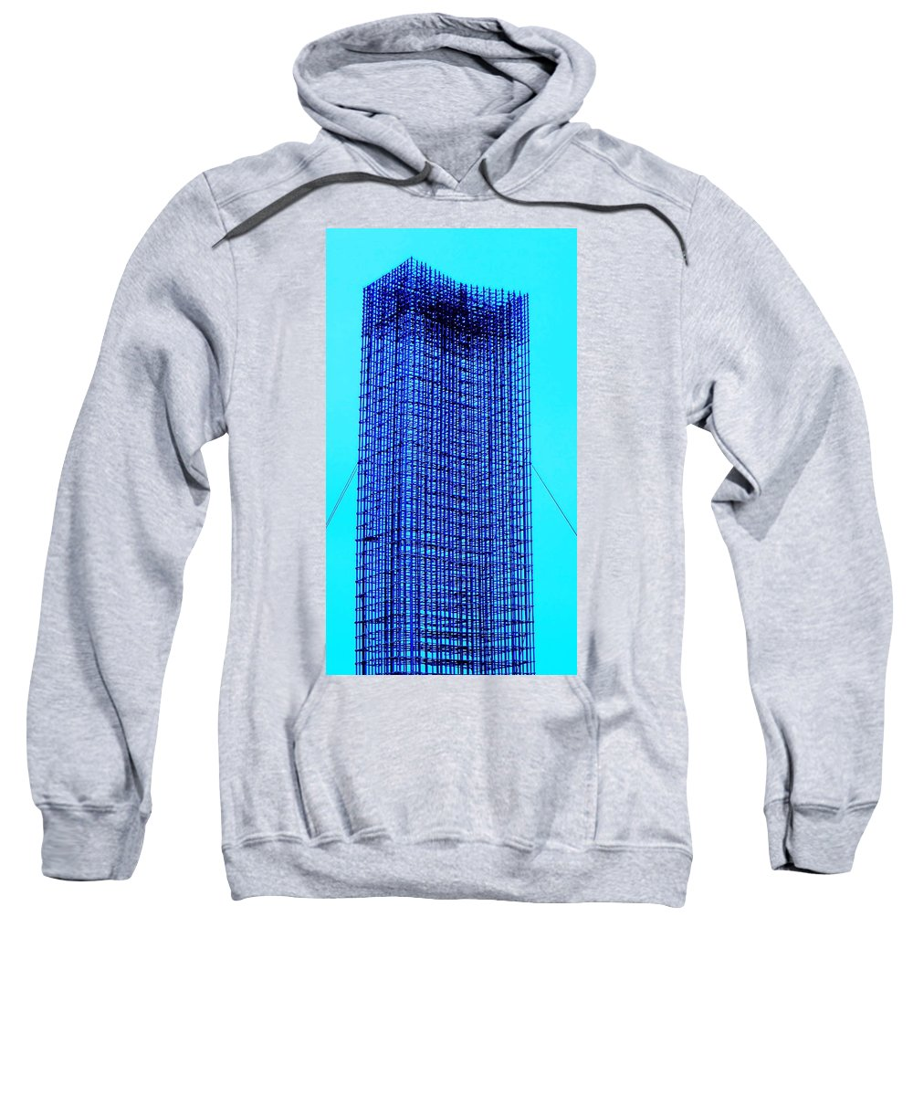 Metal Sweatshirt featuring the painting Blue Metal Mesh by Eric Schiabor