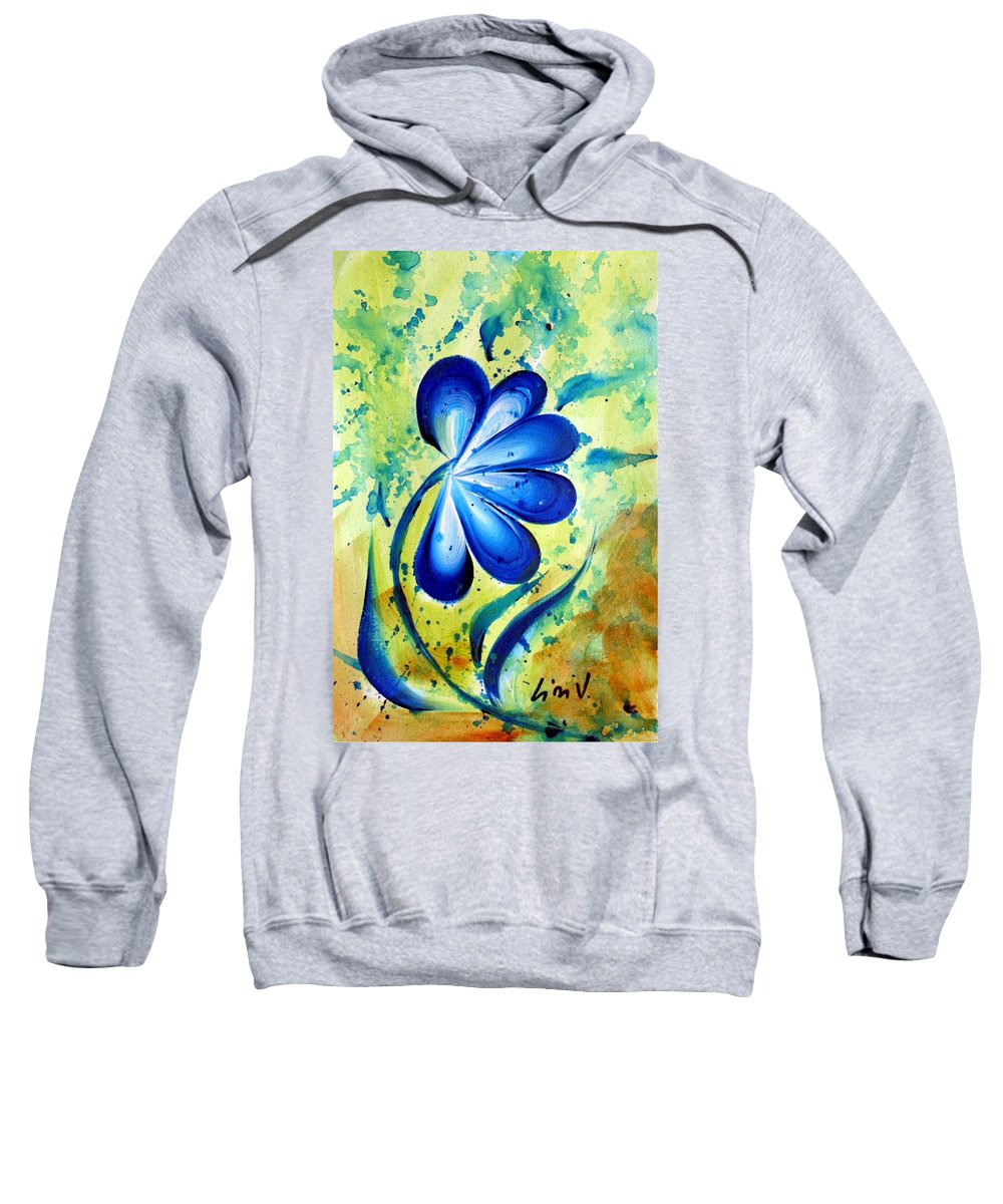 Flower Sweatshirt featuring the painting Blue Mood by Luiza Vizoli
