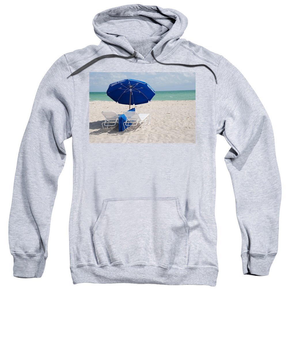 Sea Scape Sweatshirt featuring the photograph Blue Paradise Umbrella by Rob Hans