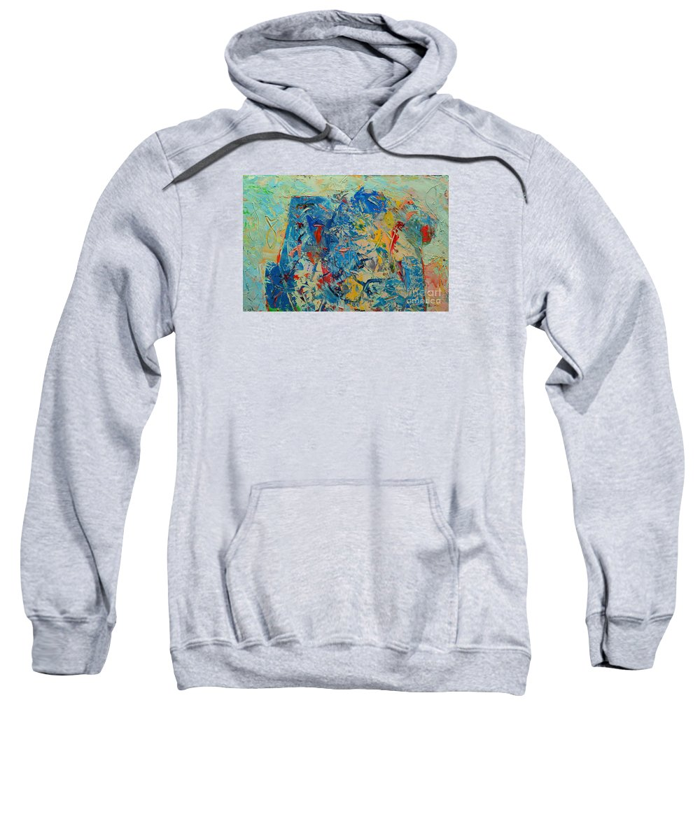 Blue Sweatshirt featuring the painting Blue Play 5 by Ana Maria Edulescu