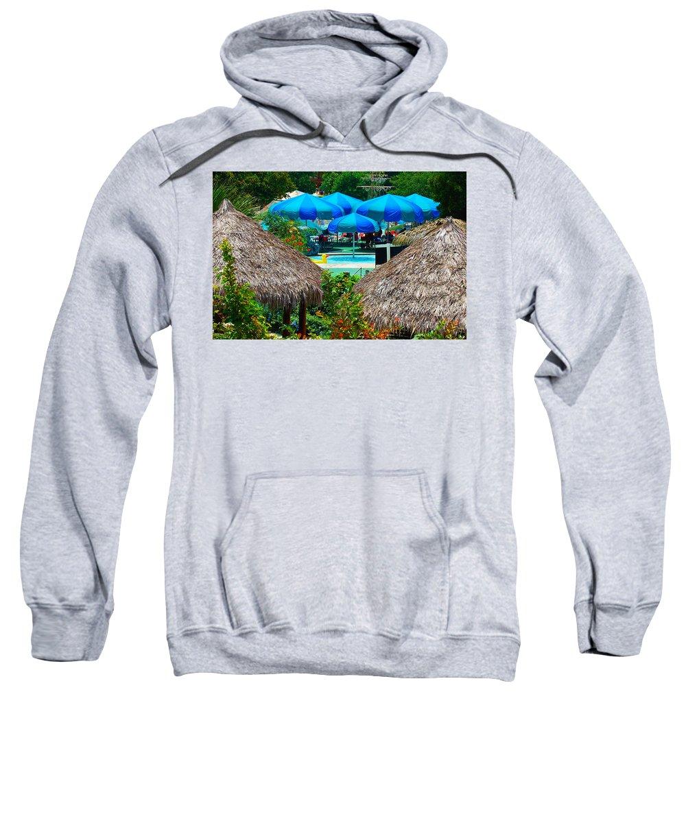 Swimming Pool Sweatshirt featuring the photograph Blue Pool Umbrellas by Cheryl Alkire