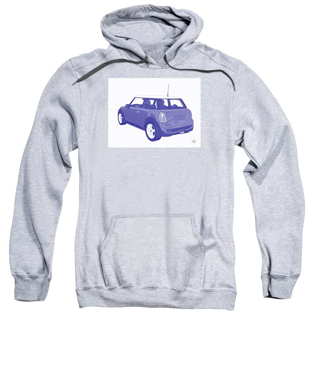 Automobile Sweatshirt featuring the mixed media Blue Print Mini by Edier C