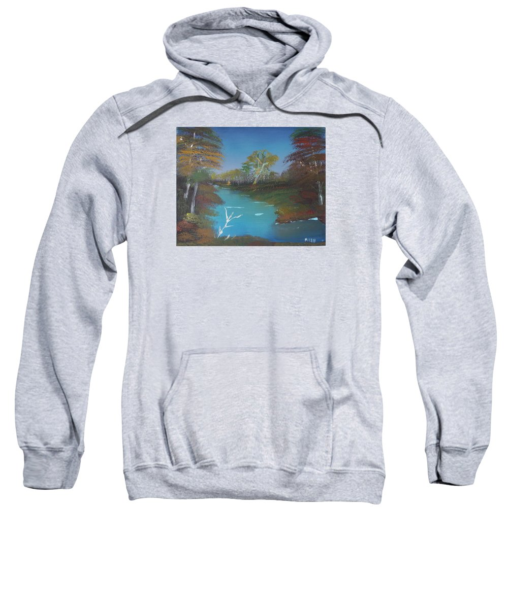 Landscape Sweatshirt featuring the painting Blue River Two by Mitchell Lee