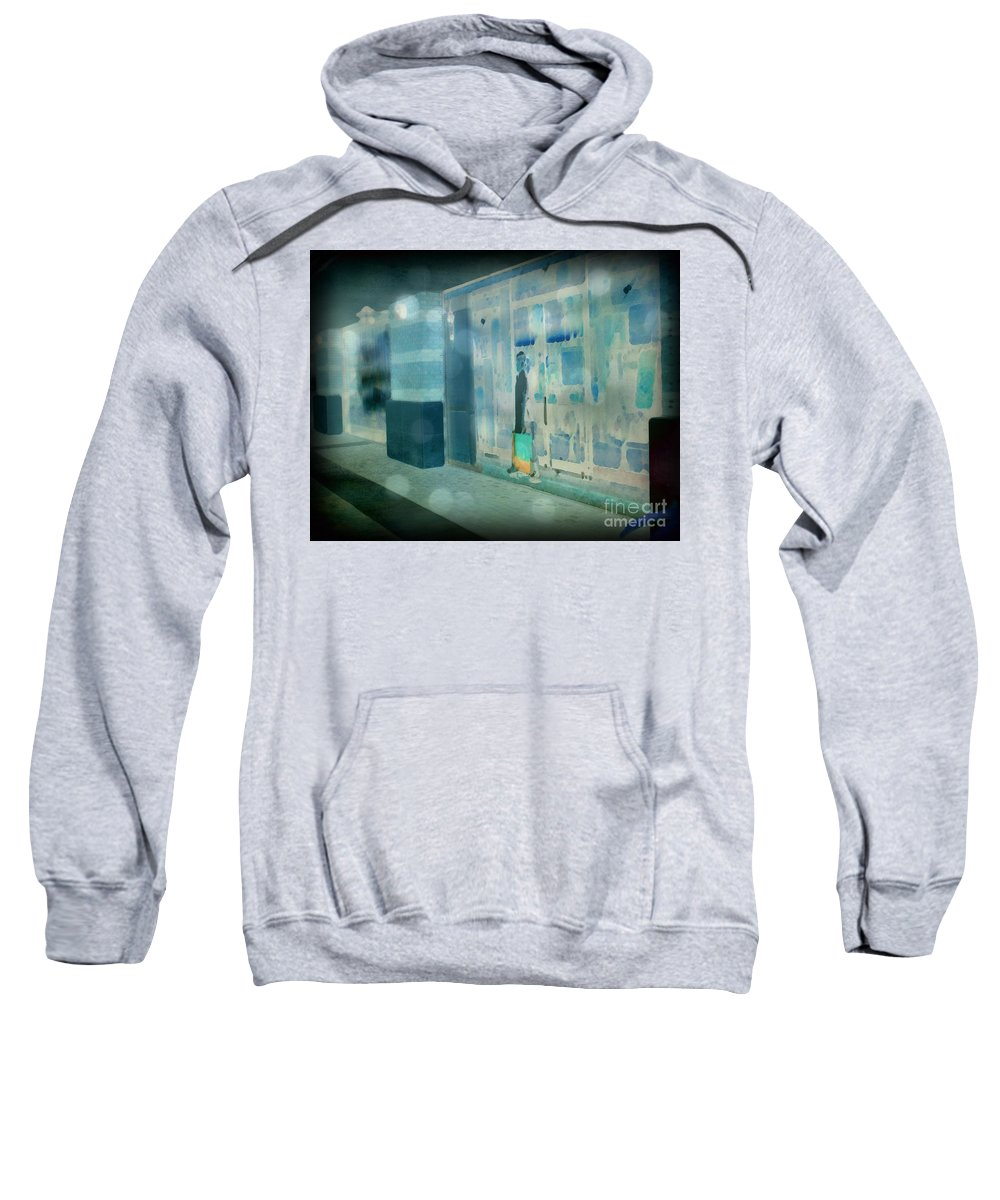 Post Processed Sweatshirt featuring the photograph Blue Shopper by Paulette B Wright