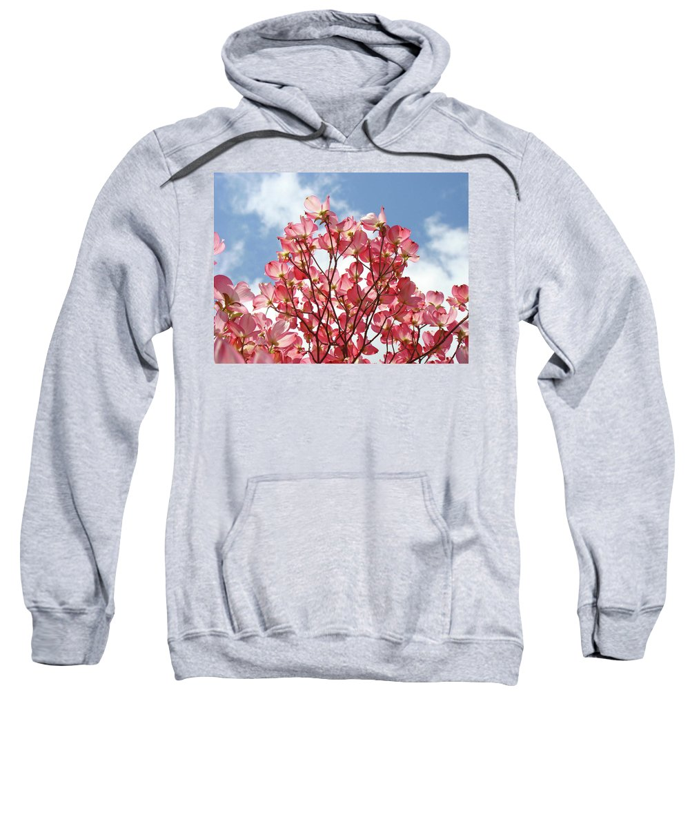 Dogwood Sweatshirt featuring the photograph Blue Sky Clouds Landscape 7 Pink Dogwood Tree Baslee Troutman by Baslee Troutman