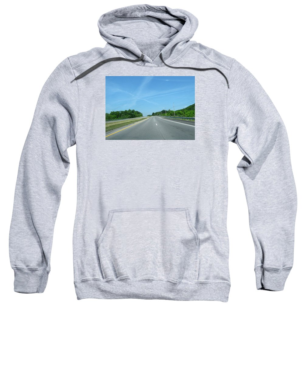 Road Sweatshirt featuring the photograph Blue Sky Empty Road by Zau