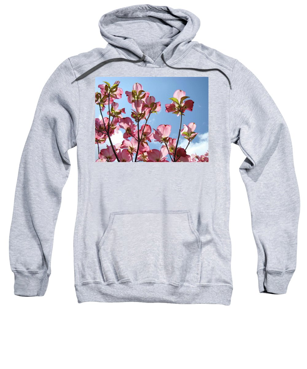 Dogwood Sweatshirt featuring the photograph Blue Sky Landscape White Clouds Art Prints Pink Dogwood Flowers Baslee Troutman by Baslee Troutman