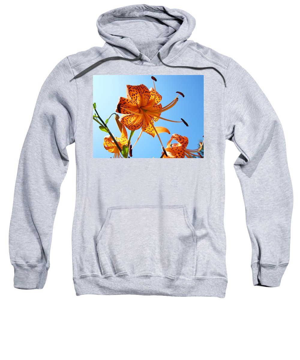 Lilies Sweatshirt featuring the photograph Blue Sky Tiger Lily Floral Garden Art Prints Baslee Troutman by Baslee Troutman
