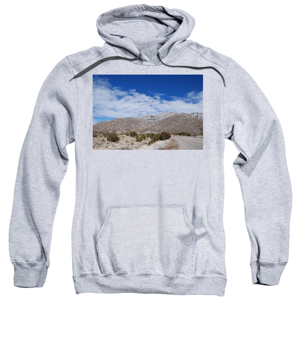 Sandia Mountains Sweatshirt featuring the photograph Blue Skys Over The Sandias by Rob Hans
