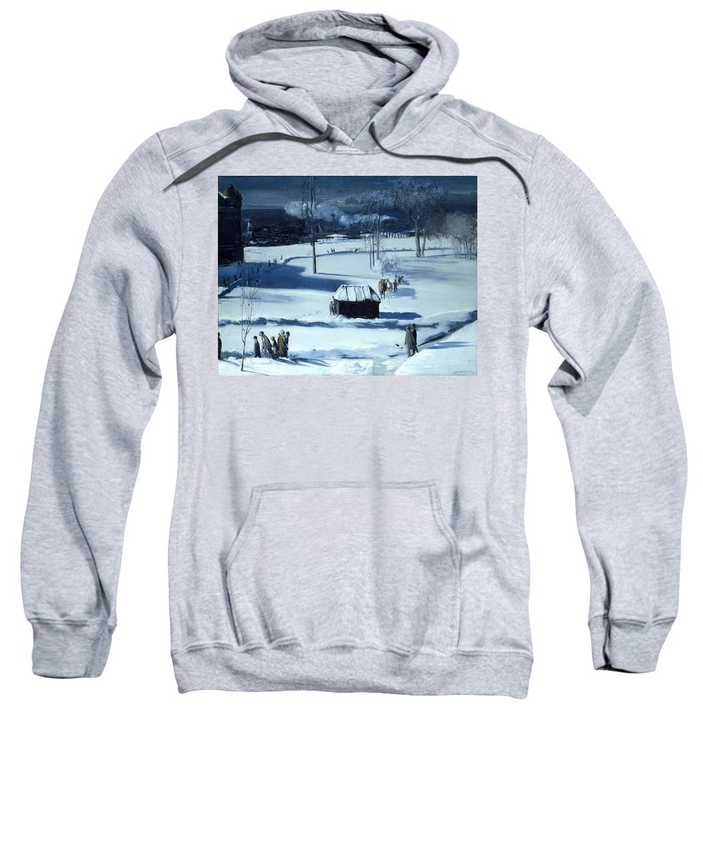 George Bellows Sweatshirt featuring the painting Blue Snow. The Battery by George Bellows