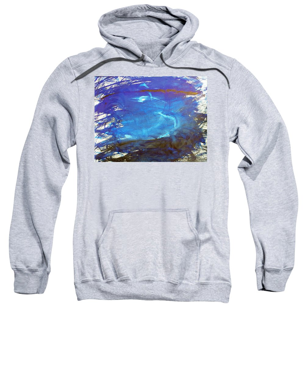 Abstract Sweatshirt featuring the painting Blue Space Water by Lee Serenethos