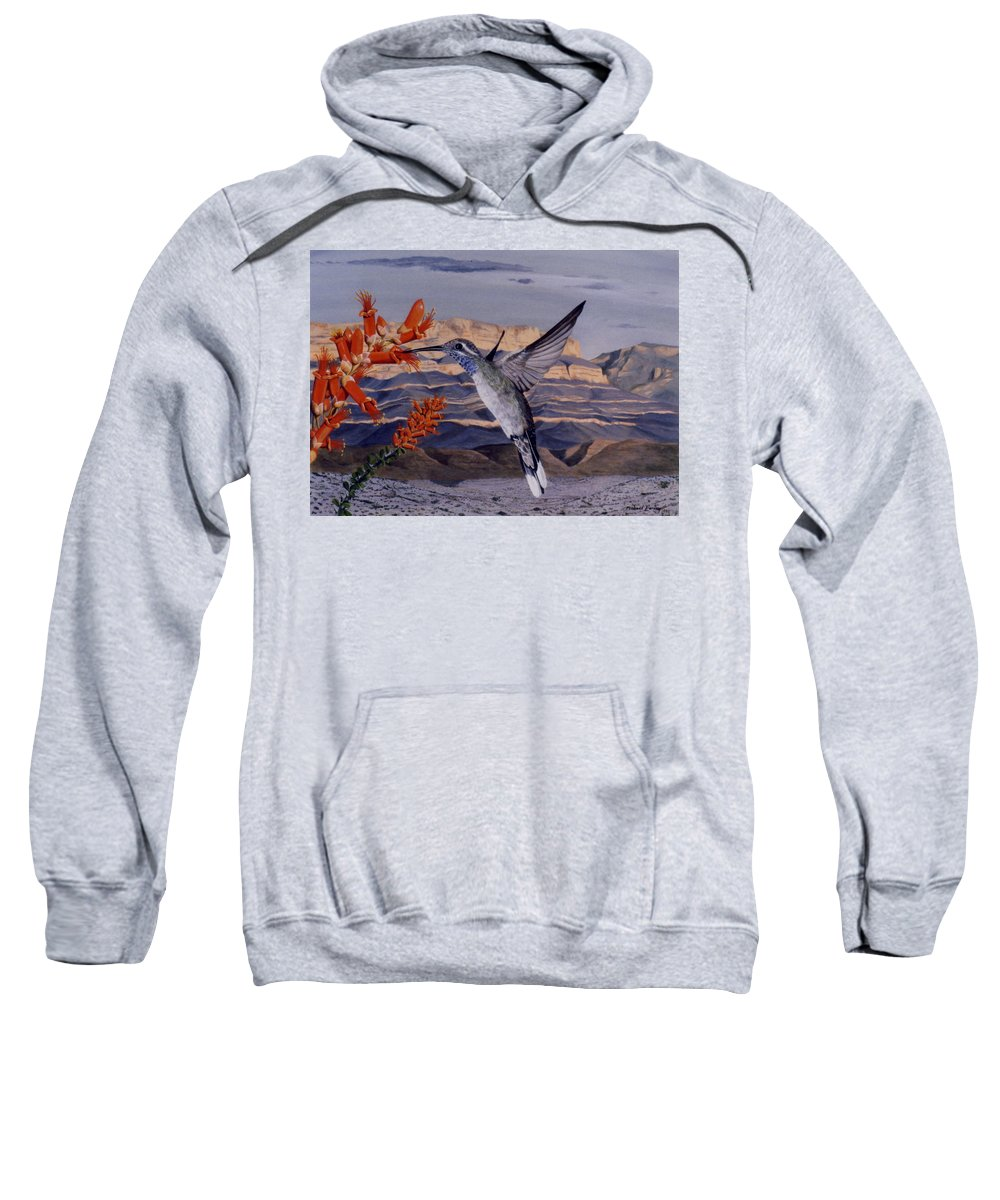 Hyperrealism Sweatshirt featuring the painting Blue Throated Hummingbird by Michael Earney