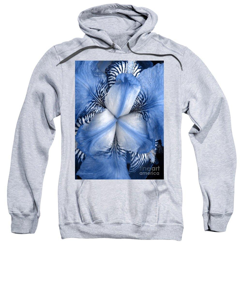 Jphotography Sweatshirt featuring the photograph Blue Tiger Iris by Shelley Jones