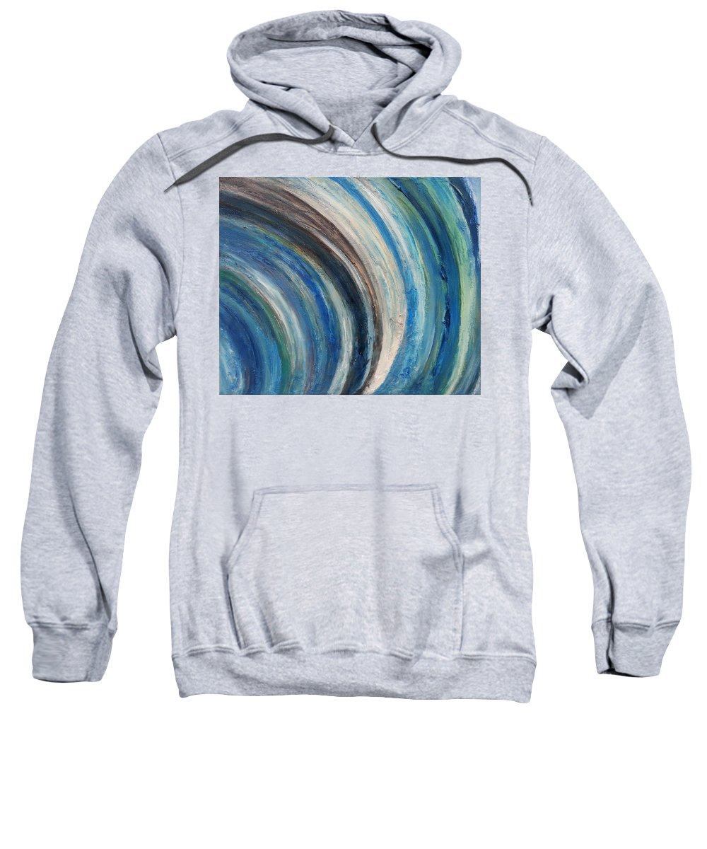 Abstract Landscape Sweatshirt featuring the painting Blue Wave by Kathleen Wong