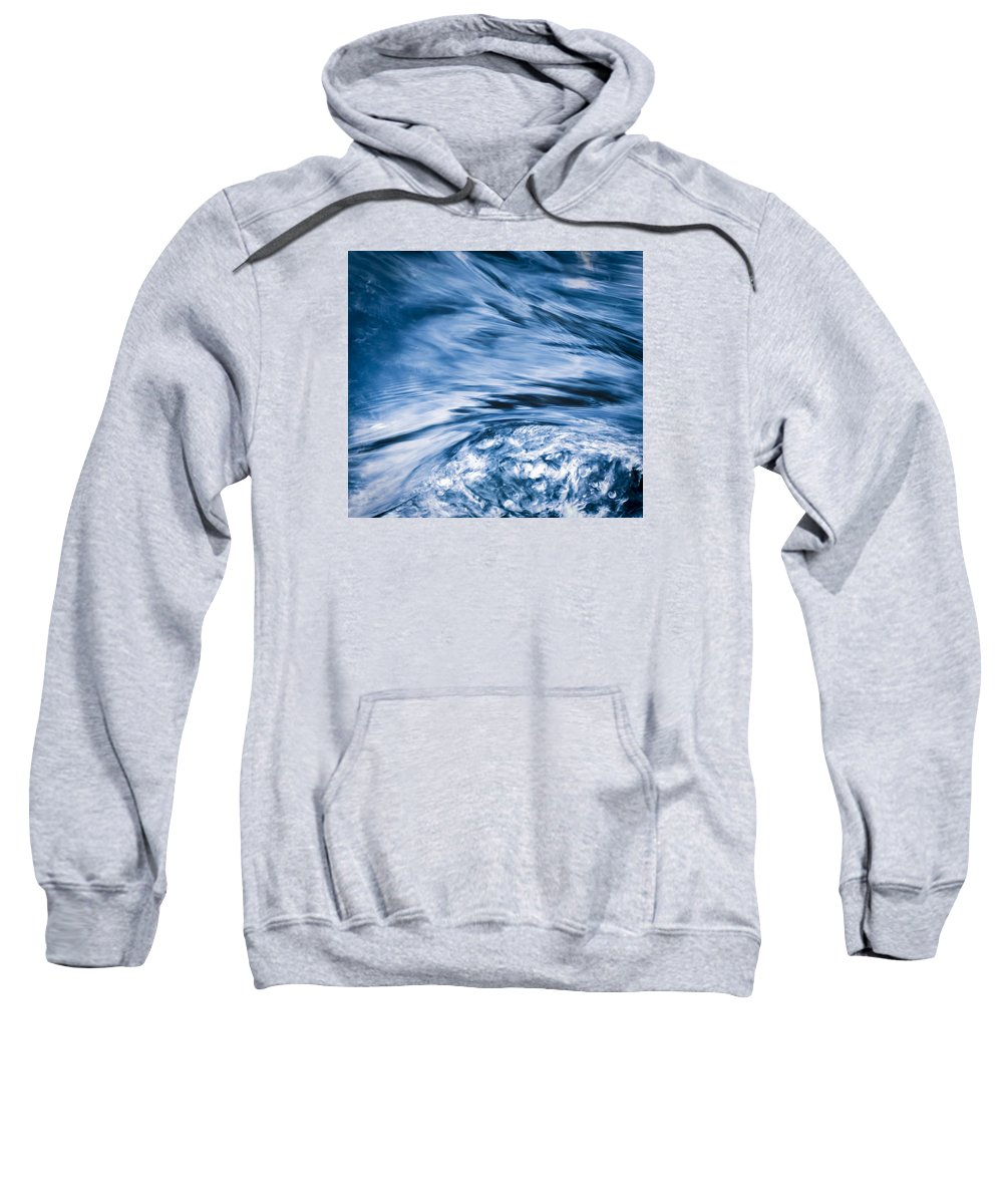 River Sweatshirt featuring the photograph Blue Wave Water by Jozef Jankola