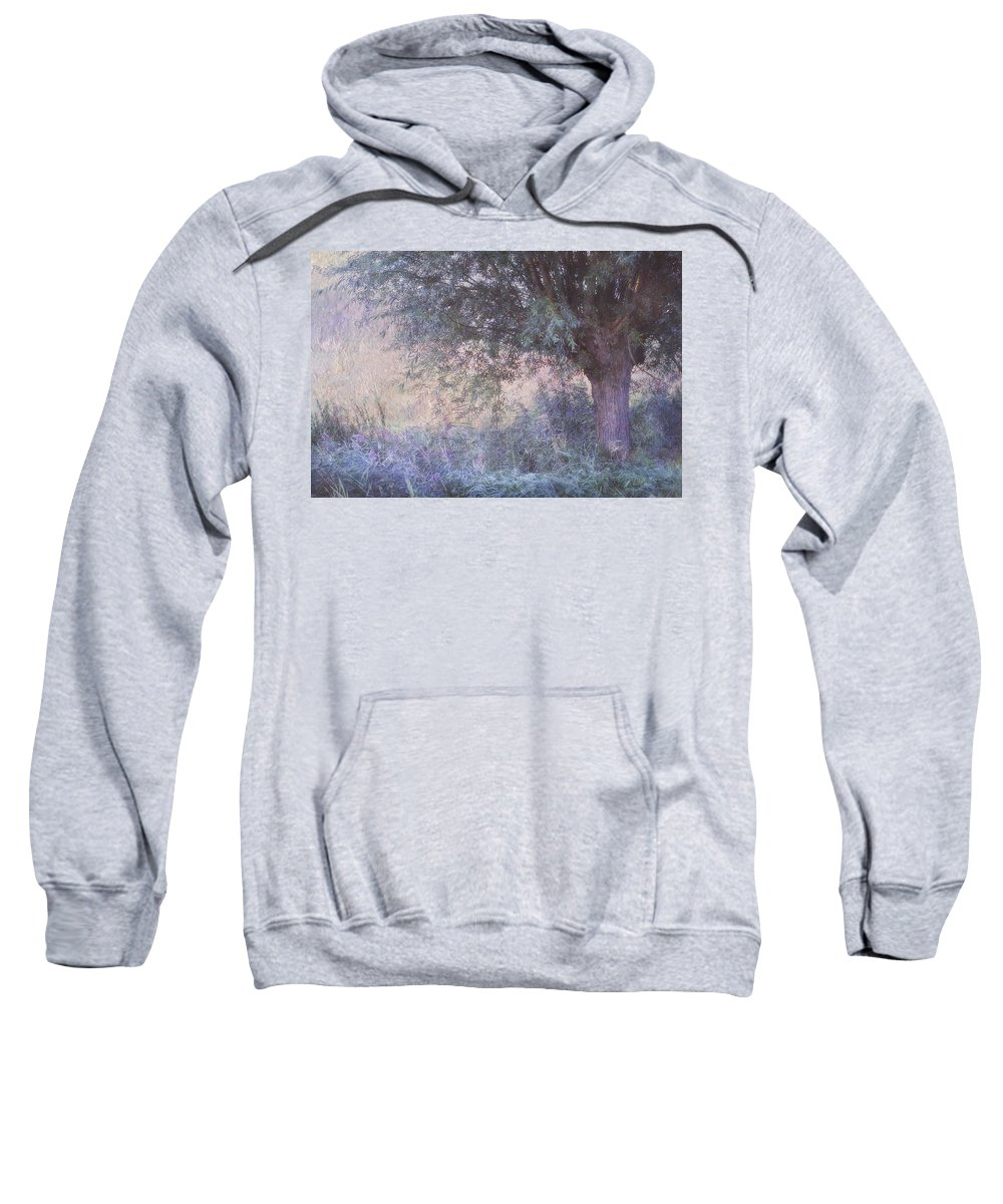 Landscape Sweatshirt featuring the photograph Blue Willow. Monet Style by Jenny Rainbow