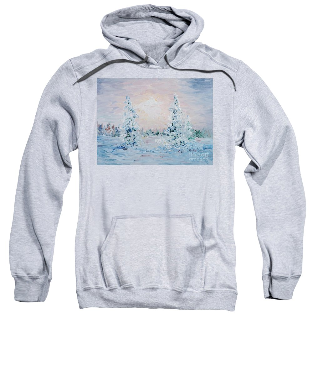 Landscape Sweatshirt featuring the painting Blue Winter by Nadine Rippelmeyer