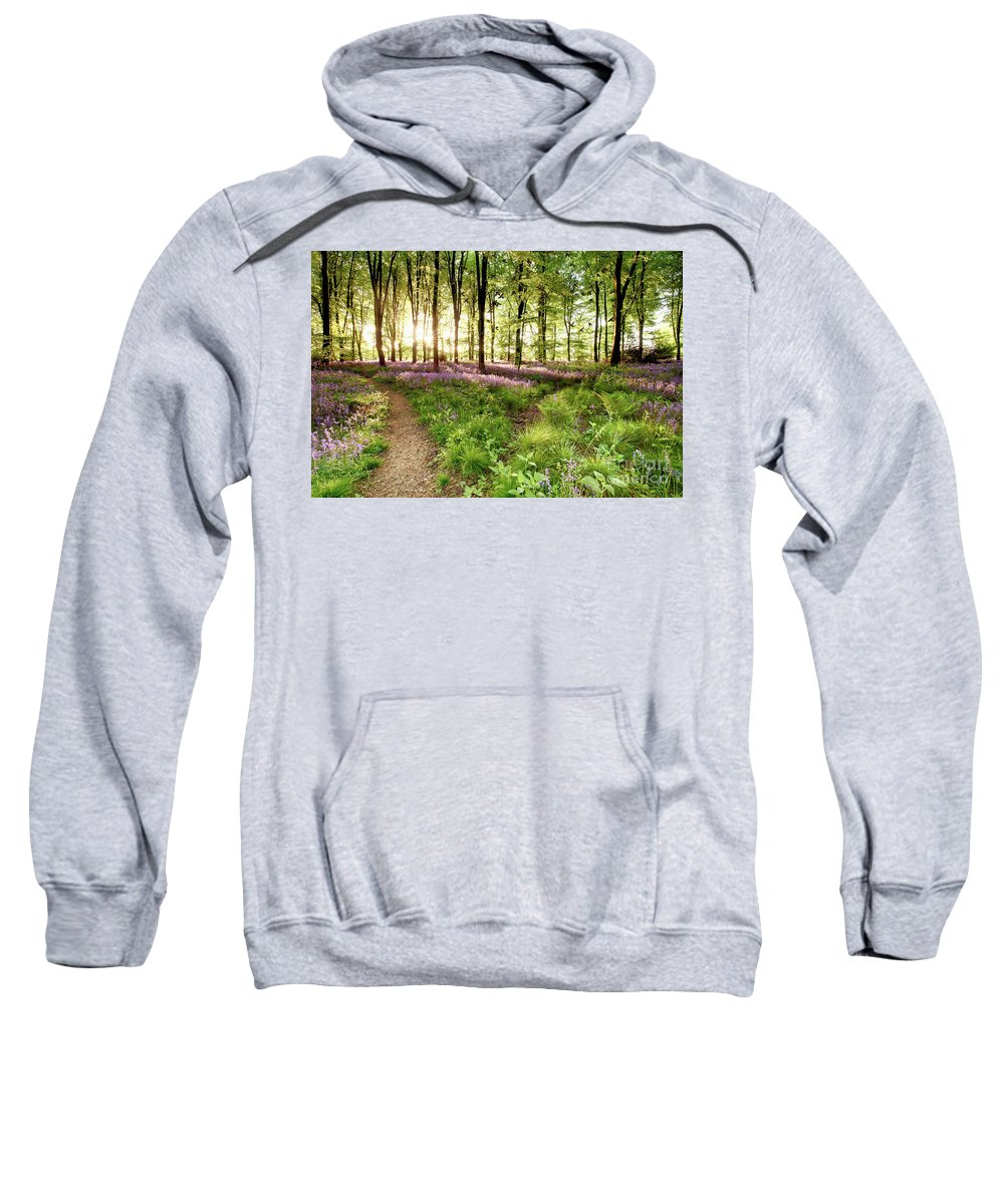 Bluebells Sweatshirt featuring the photograph Bluebell Woods With Birds Flocking by Simon Bratt Photography LRPS