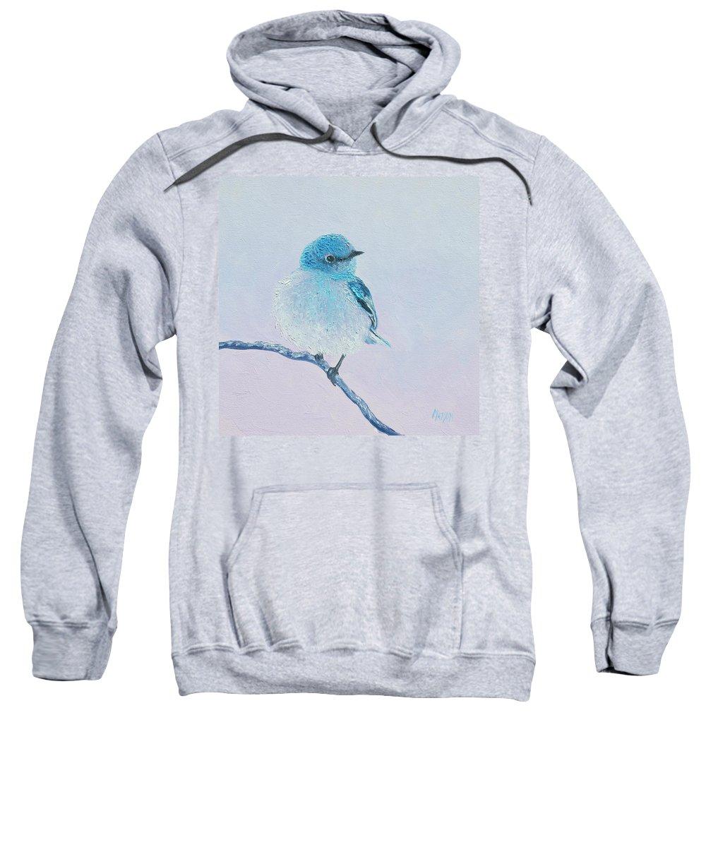 Bluebird Sweatshirt featuring the painting Bluebird Painting by Jan Matson