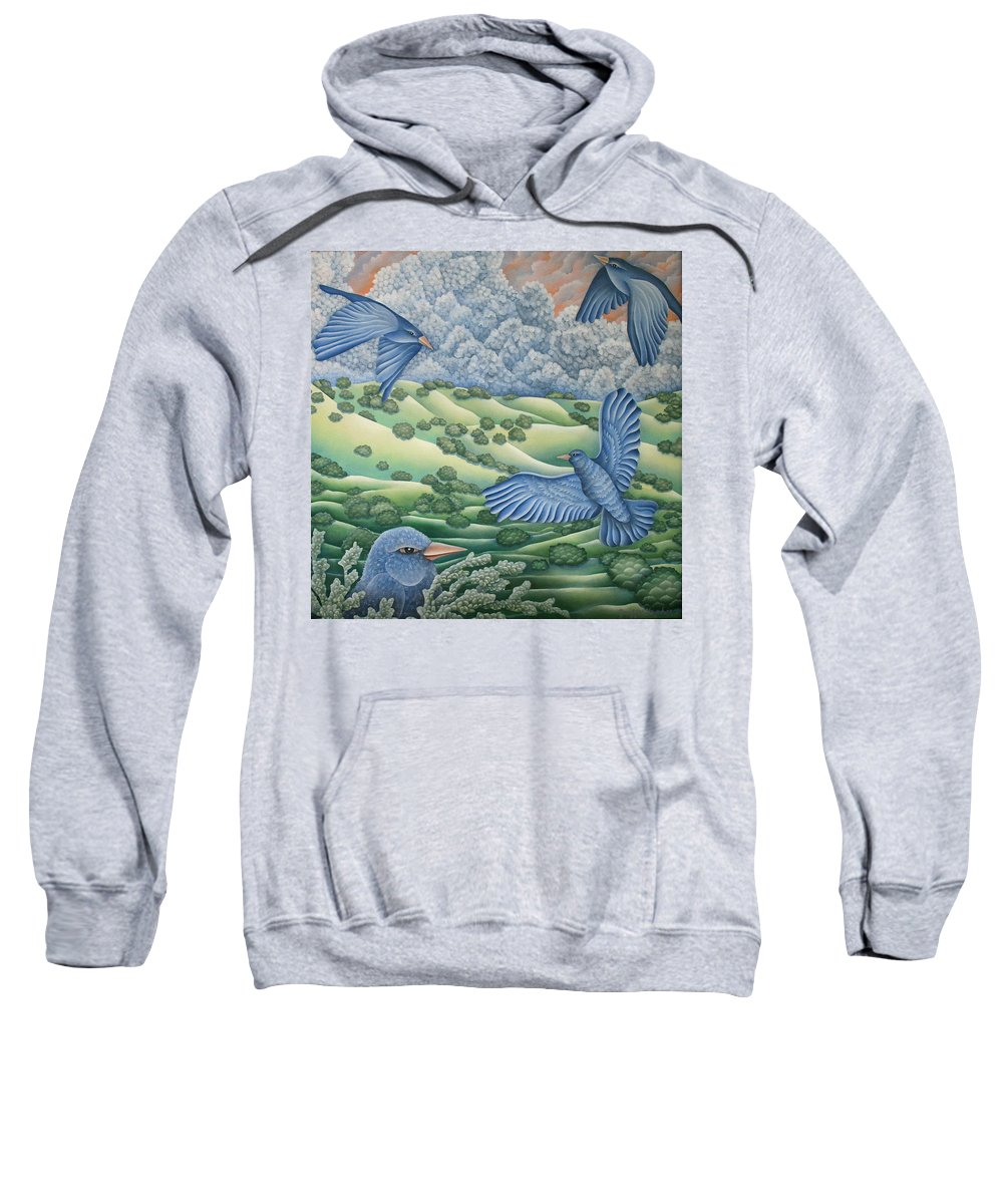 Sweatshirt featuring the painting Bluebirds Of Happiness by Jeniffer Stapher-Thomas