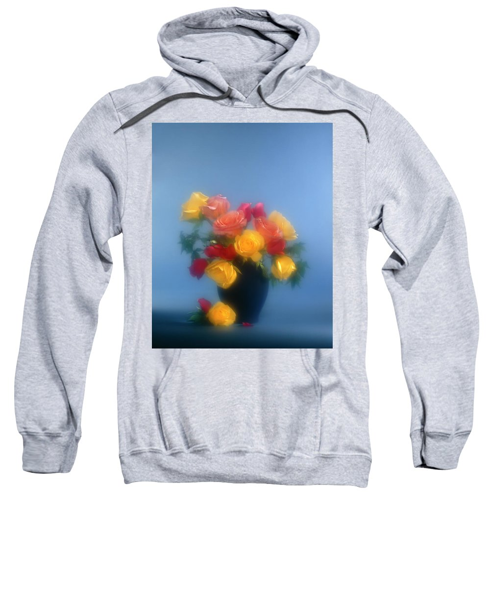 Arty; Still Life; Vertical; Composition; Flowers; Roses; Yellow; Blue; Red; Pink; Orange; Light Effects.spotlights; Bunch; Vase; Blur; Blurred Sweatshirt featuring the photograph Blurred Roses In The Blue by Stefania Levi