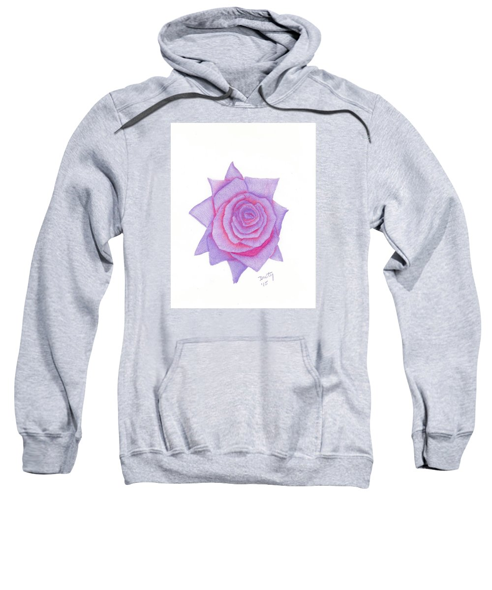 Rose Sweatshirt featuring the drawing Blushing Blue by Dusty Reed